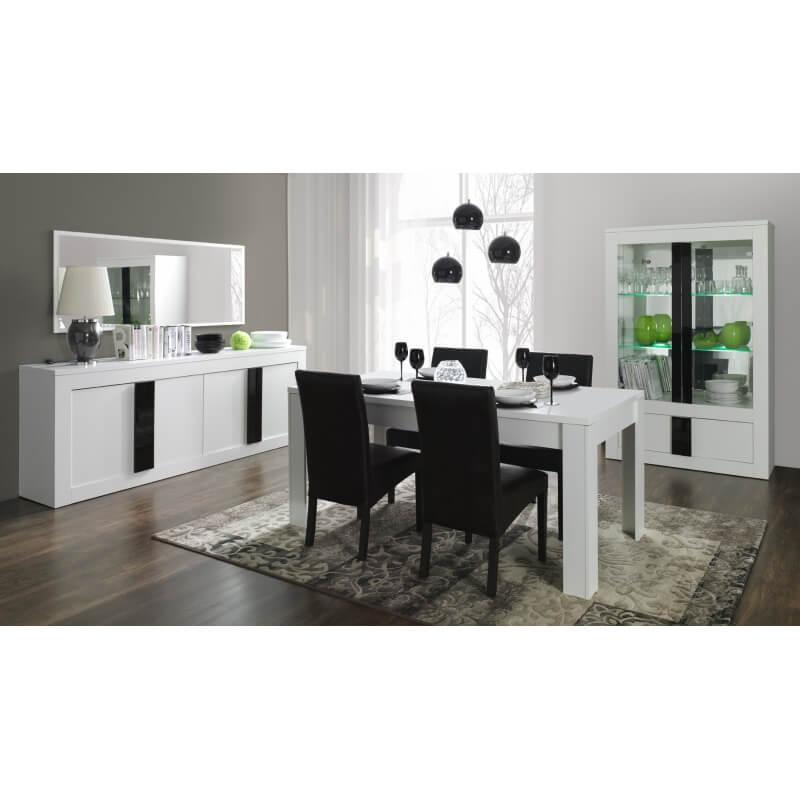 buffet bahut design 4 portes blanc mat noir brillant evane. Black Bedroom Furniture Sets. Home Design Ideas