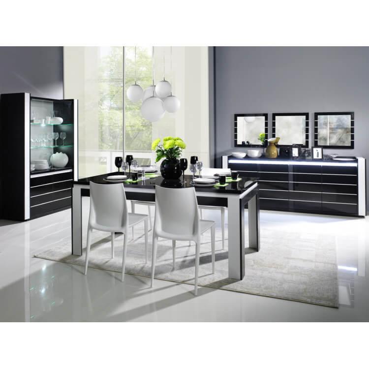 Salle à manger design coloris noir/blanc brillant Milady