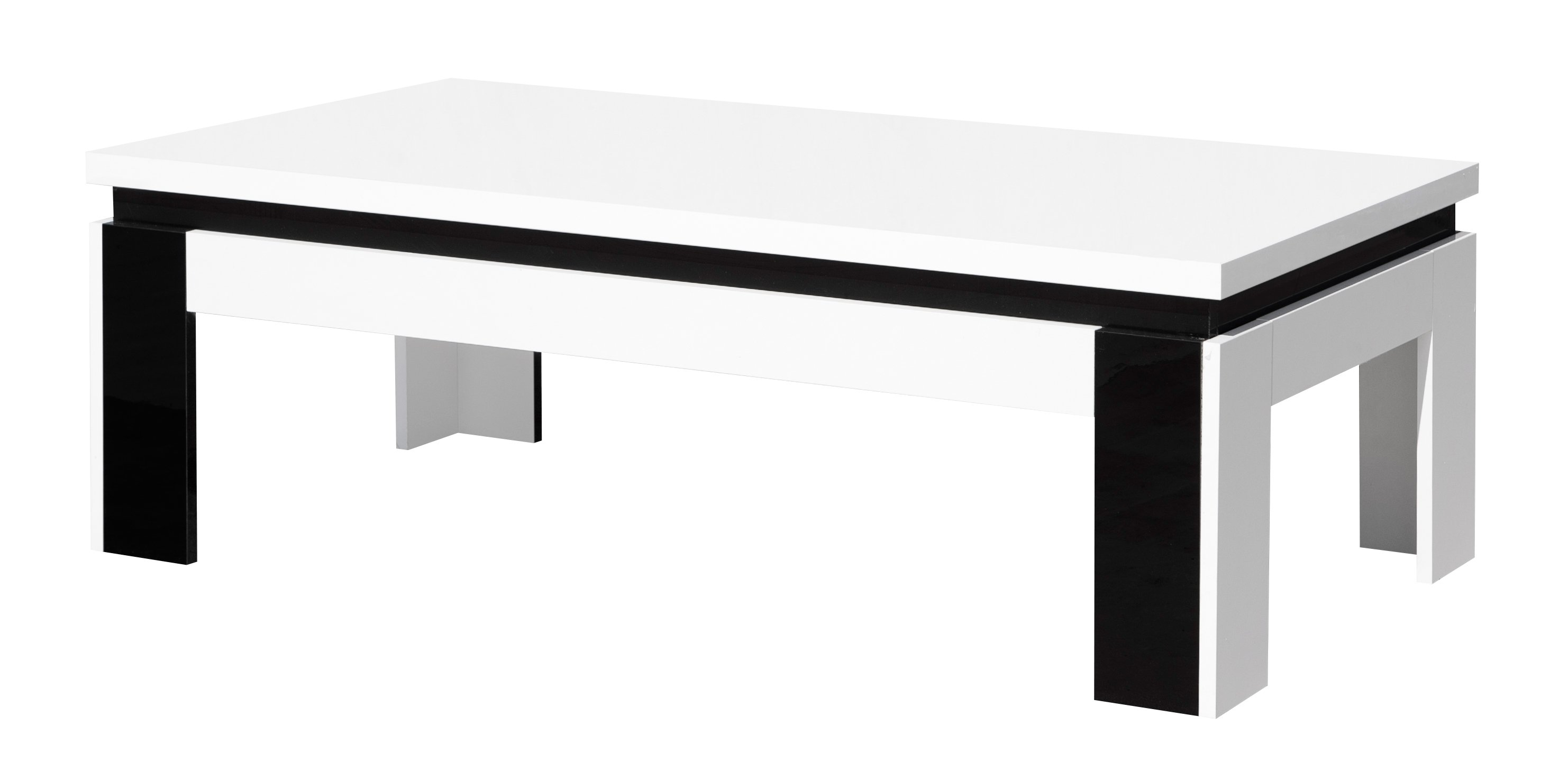 Basse Coloris Design Rectangulaire Table Brillant Tessa Blancnoir kXZiuPOT