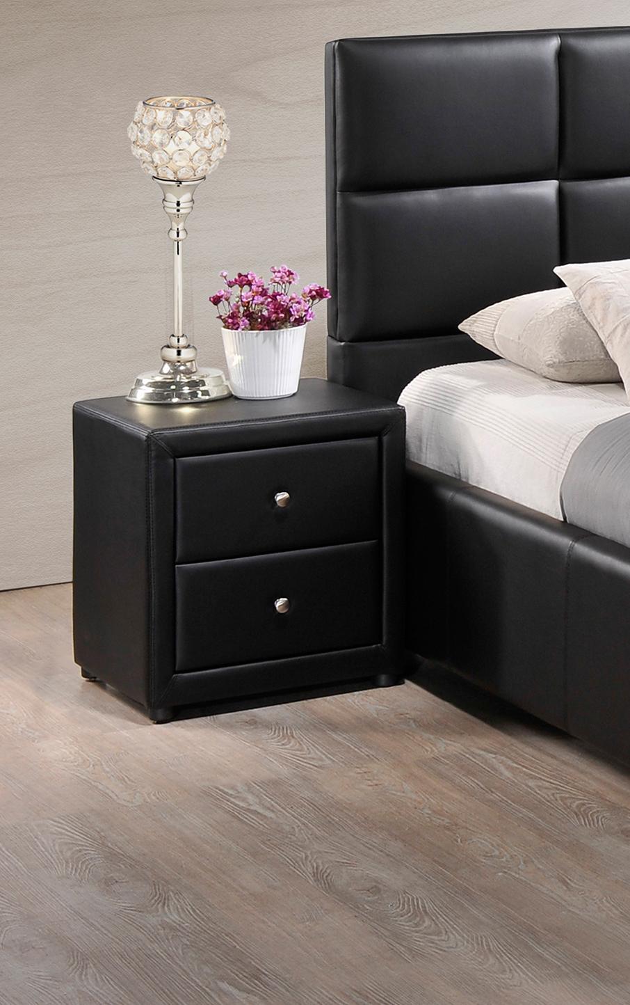 Chevet design 2 tiroirs en PU noir Moira
