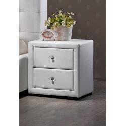 Chevet design 2 tiroirs en PU blanc Lutèce