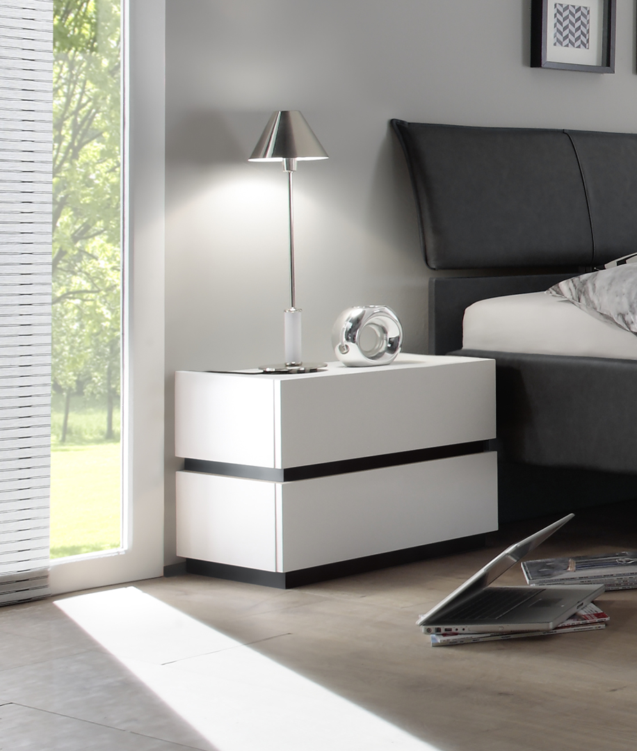 chevet design 2 tiroirs blanc mat gris fonc bizance matelpro. Black Bedroom Furniture Sets. Home Design Ideas