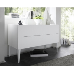 Commode design 4 tiroirs blanc mat Bizance