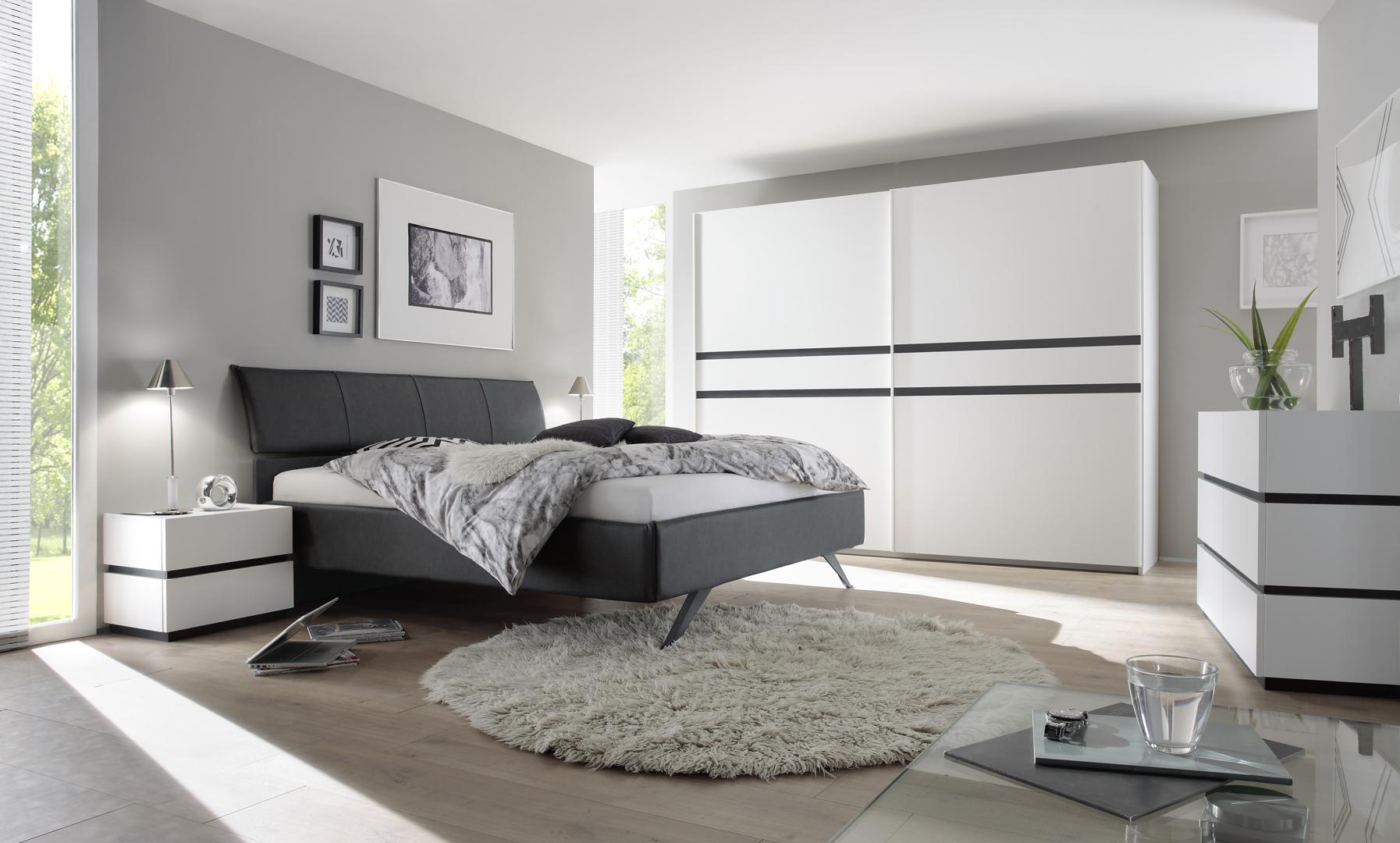 Chambre Adulte Design Blanc Mat/gris Foncé Bizance