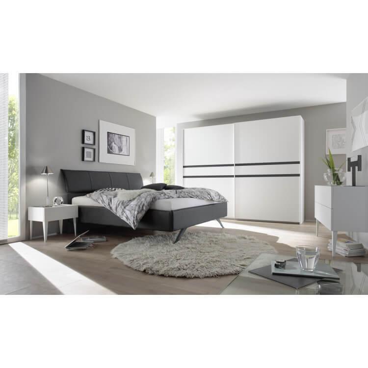 Chambre adulte design blanc mat/gris foncé Bizance II