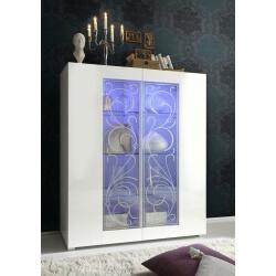 Vitrine design 2 portes avec éclairage coloris blanc sérigraphié Nikaragua