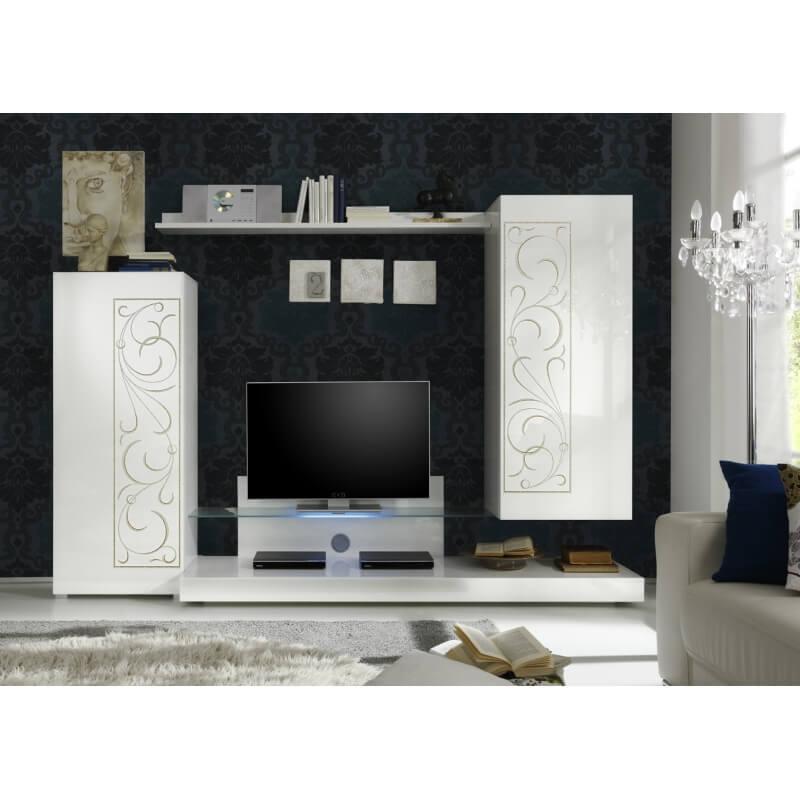 composition tv murale design coloris blanc s rigraphi. Black Bedroom Furniture Sets. Home Design Ideas