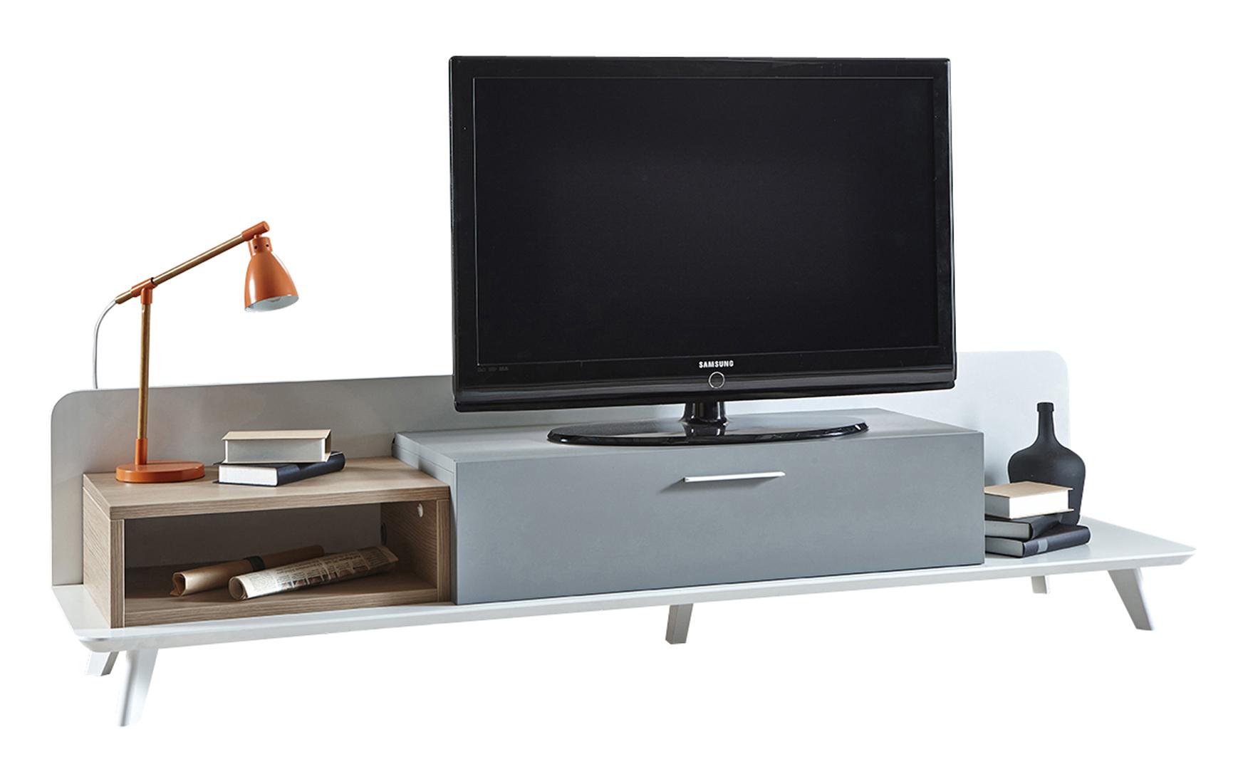 Meuble Tv Contemporain 200 Cm Coloris Chêneblancgris Jordanie