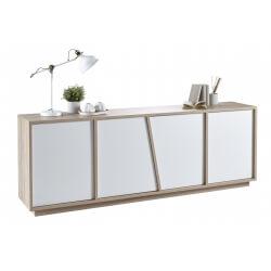 Buffet/bahut contemporain 4 portes chêne/blanc Estonie