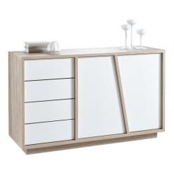 Meuble de rangement scandinave 2 portes/4 tiroirs chêne/blanc Estonie