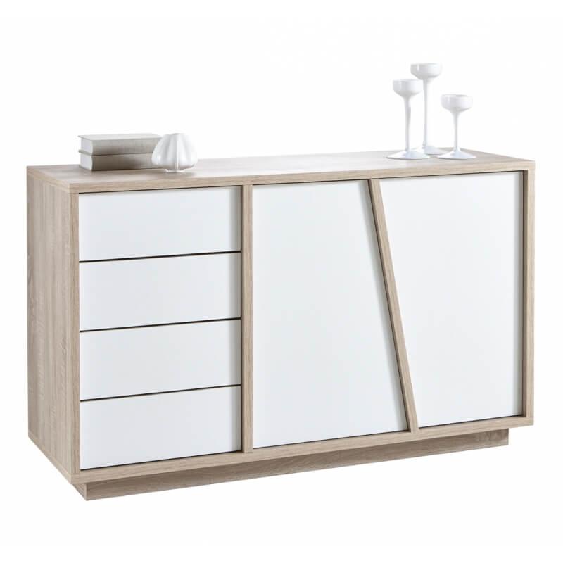 meuble de rangement contemporain 2 portes 4 tiroirs ch ne blanc estonie matelpro. Black Bedroom Furniture Sets. Home Design Ideas
