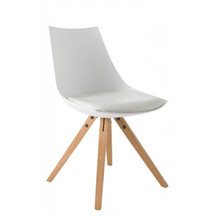 Chaise de salle à manger design en PU blanc (lot de 2) Sabine