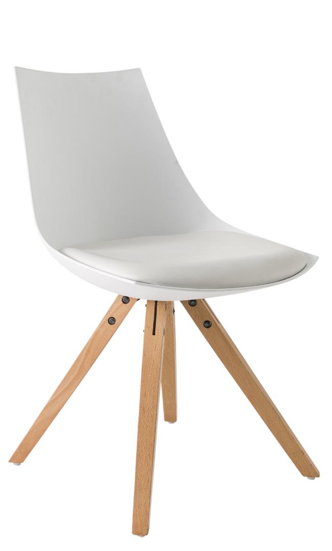 Chaise de salle à manger scandinave en PU blanc (lot de 2) Sabine