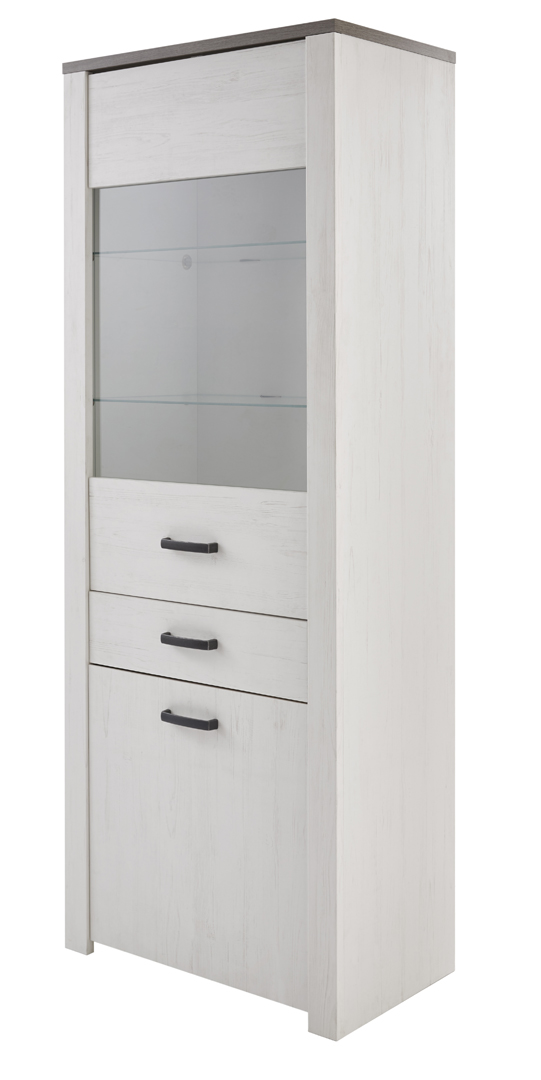 Vitrine contemporaine 2 portes/1 tiroir coloris blanc/marron Rubio