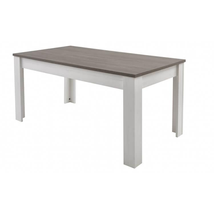 Table de salle à manger contemporaine extensible coloris blanc/marron Rubio