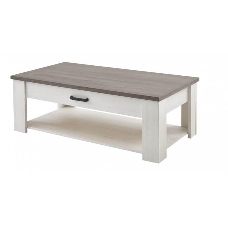 Table basse contemporaine rectangulaire coloris blanc/marron Rubio