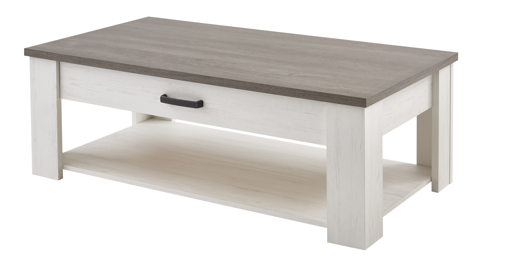 Table basse contemporaine blanc/marron Rubio
