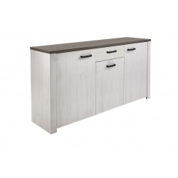 Buffet/bahut contemporain 3 portes/1 tiroir coloris blanc/marron Rubio