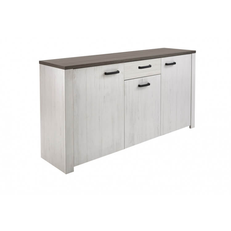 Buffet/bahut contemporain 175 cm blanc/marron Rubio