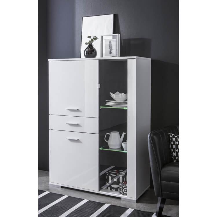 Vaisselier/argentier design 3 portes/1 tiroir coloris blanc brillant Joyce