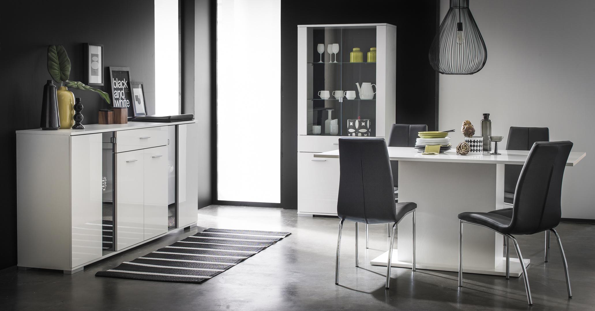 Salle à manger design coloris blanc brillant Joyce