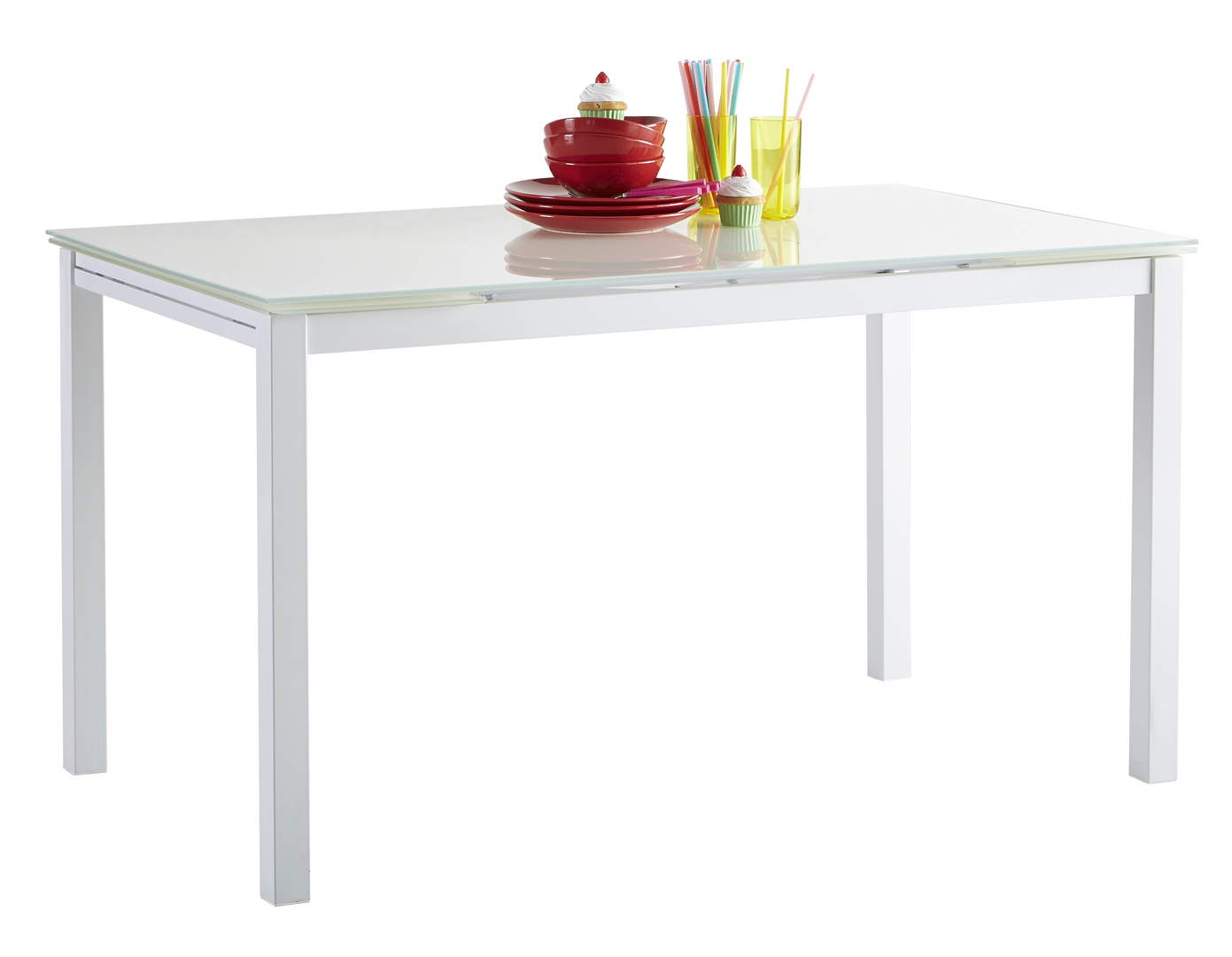 Table De Cuisine Blanche Contemporaine Extensible Metal Et Verre