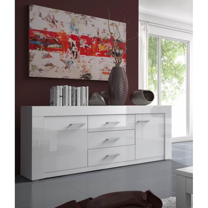 buffet bahut design 2 portes 3 tiroirs 190 cm laqu blanc gwendaline matelpro. Black Bedroom Furniture Sets. Home Design Ideas
