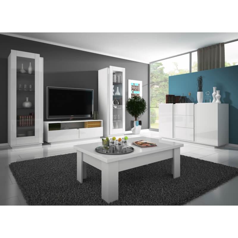 Meuble tv design laqu blanc corentine matelpro - Meuble tv design laque ...