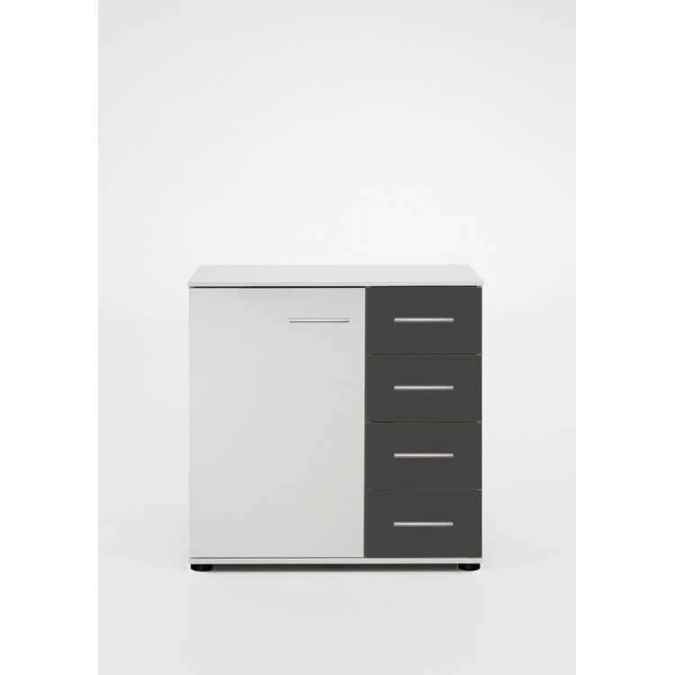 Commode design 1 porte/4 tiroirs blanche/anthracite Evonie
