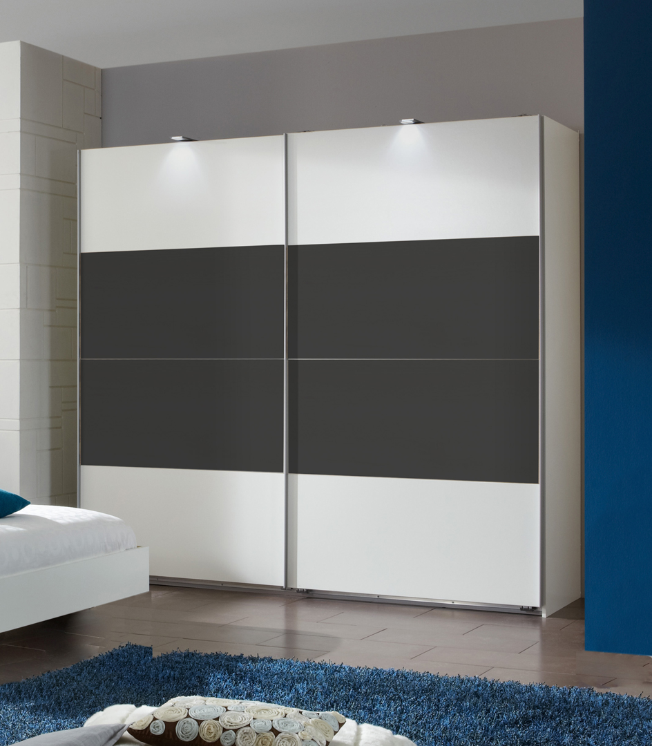 Armoire adulte design blanche/anthracite portes coulissantes Evonie