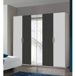 Armoire adulte design 4 portes blanche/anthracite Evonie