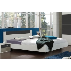 Lit adulte design blanc/anthracite Evonie