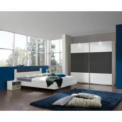Chambre adulte design blanche/anthracite Evonie II