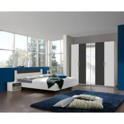 Chambre adulte design blanche/anthracite Evonie III