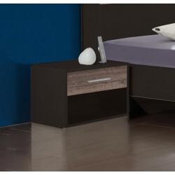 Chevet contemporain 1 tiroir coloris chêne/lave (lot de 2) Australia