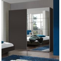 Armoire adulte contemporaine portes coulissantes coloris chêne/lave Australia