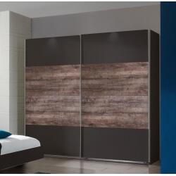 Armoire adulte contemporaine portes coulissantes coloris chêne/lave Australia II