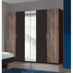 Armoire adulte contemporaine 4 portes coloris chêne/lave Australia