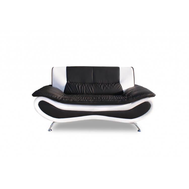Canapé fixe design 2 places en PU noir/blanc Lalie