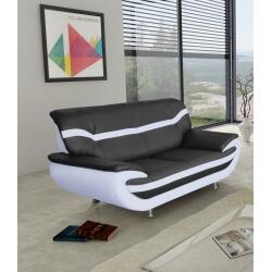 Canapé fixe design 2 places en PU noir/blanc Adelice
