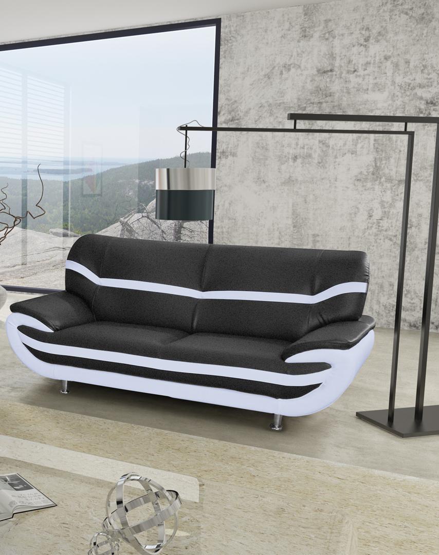 Canapé fixe design 3 places en PU noir/blanc Adelice