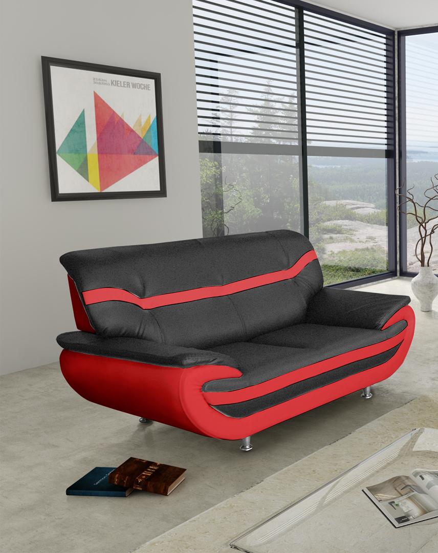 Canapé fixe design 2 places en PU noir/rouge Adelice