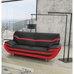 Canapé fixe design 3 places en PU noir/rouge Adelice