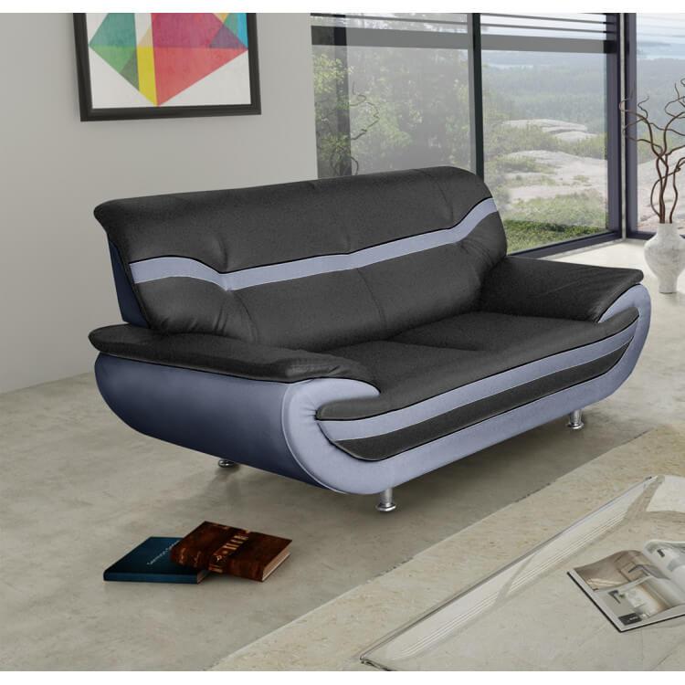 Canapé fixe design 2 places en PU noir/gris Adelice