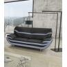 Canapé fixe design 3 places en PU noir/gris Adelice