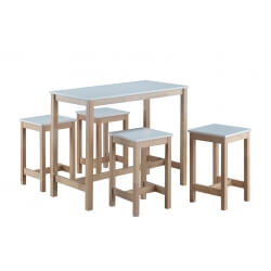 Ensemble table et 4 tabourets contemporain coloris blanc/naturel Maldive