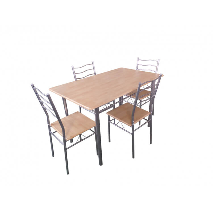 Ensemble table et 4 chaises contemporain coloris gris/naturel Carmen