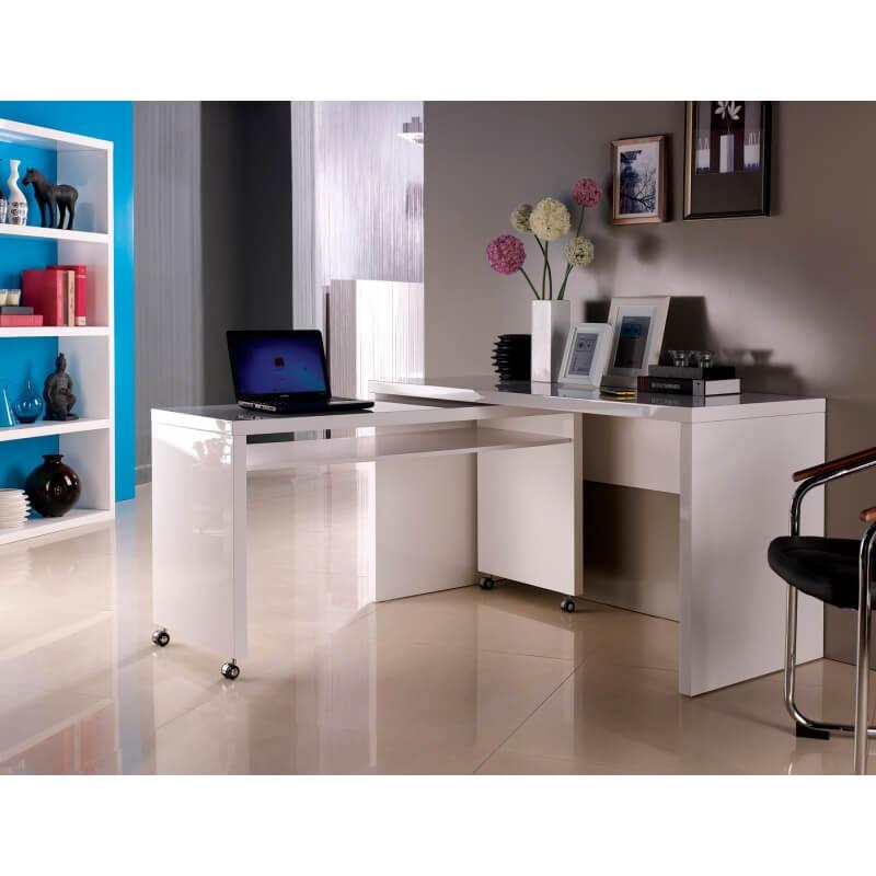 Bureau d 39 angle amovible design laqu blanc belinda - Bureau d angle laque blanc ...