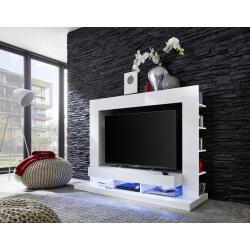 Banc TV design laqué blanc Drice