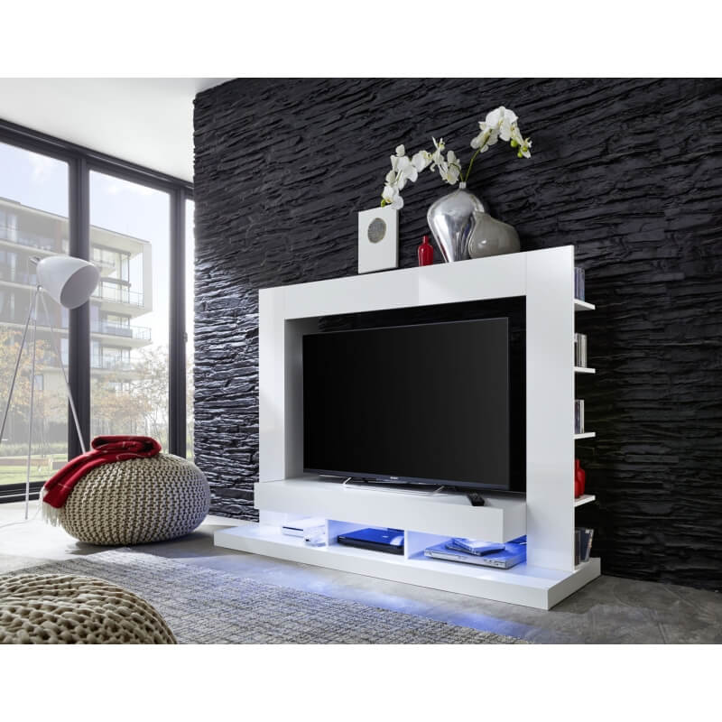 banc tv design laqu blanc drice matelpro. Black Bedroom Furniture Sets. Home Design Ideas